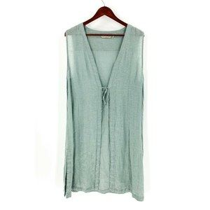 Soft Surroundings Seafoam Green Linen Long Vest
